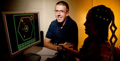 University of Illinois postdoctoral researcher Kyle Mathewson and his colleagues discovered that they could predict how quickly a person would learn a new video game by looking at the electroencephalogram of the person's brain at the start of play.