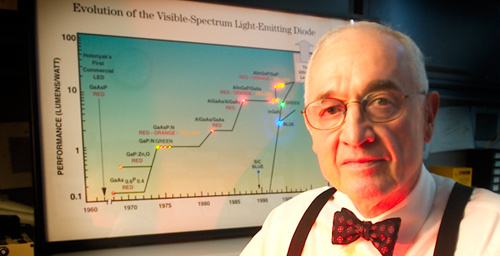 Nick Holonyak will be honored at an event Oct. 9 marking the 50th anniversary of his invention, the first visible light-emitting diode.