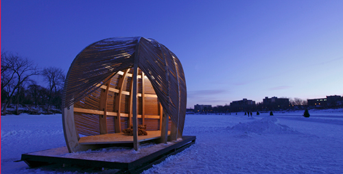 The ROPE Pavilion offers shelter to skaters on Winnipeg's Assiniboine River Trail.