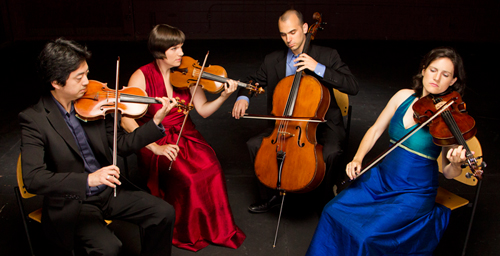 The Jupiter String Quartet is Nelson Lee, violin; Meg Freivogel, violin; Daniel McDonough, cello; and Liz Freivogel, viola.