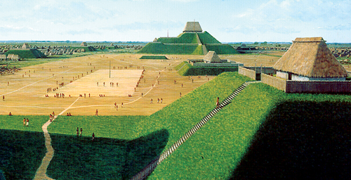 The pre-Columbian settlement at Cahokia was the largest city in North America north of Mexico, with as many as 50,000 people living there at its peak. The people of Cahokia built huge mounds that towered over the surrounding landscape. Although short-lived at Cahokia, the mound-building idea continued for centuries in other parts of the U.S.
