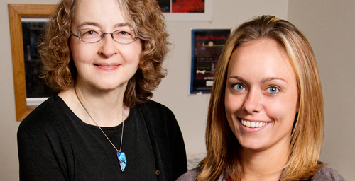 University of Illinois psychology professor and Beckman Institute affiliate Janice Juraska, left, and doctoral student Nioka Chisholm found that long-term exposure to estrogen and a synthetic progesterone increased synapse numbers in the prefrontal cortex of aged rats.