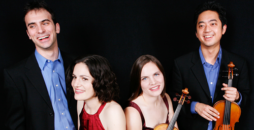 The Jupiter String Quartet joins the University of Illinois faculty as quartet in residence in August. The members of the quartet are, from left, cellist Daniel McDonough, violist Liz Freivogel, and violinists Megan Freivogel and Nelson Lee.