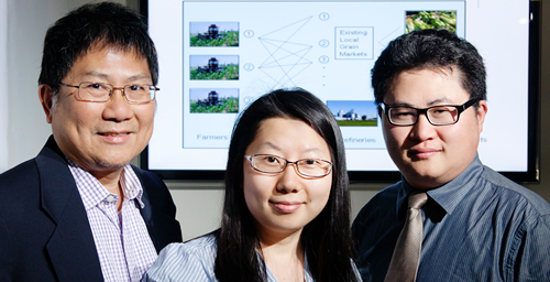 Illinois researchers - from left, Jong-Shi Pang, Yun Bai and Yanfeng Ouyang - developed models for optimizing and evaluating the biofuel feedstock supply chain, addressing layers of competition not only between the biofuel market and the food market, but also among individual farmers.