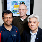 Energy Biosciences Institute professor Yogendra Shastri, left, and agricultural and biological engineering professors Alan Hansen, center, and K.C. Ting developed a computer model that optimizes operations between the farm and the biorefinery.