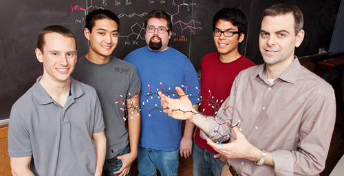 Illinois chemists discovered that a powerful treatment for fungal infections doesn't work the way doctors have assumed, setting a new course for drug development. The researchers, led by chemistry professor Martin Burke, right, are, from left, graduate students Ian Dailey, Matthew Endo, Brandon Wilcock, Brice Uno and, not pictured, Kaitlyn Gray and Daniel Palacios.