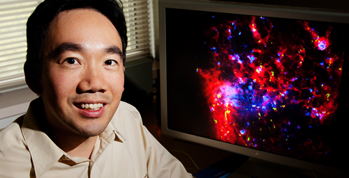 Astronomy professor Tony Wong led an international team of astronomers to create a detailed map of star-forming regions of the Large Magellanic Cloud, a neighboring galaxy.