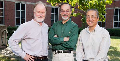 A new study suggests the ancestor of all living things was more complex than once thought. The research team included (from left) entomology professor James Whitfield, crop sciences professor Gustavo Caetano-Anolls and crop sciences professor Manfredo Seufferheld.