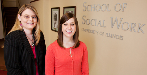 Claudia Sergent, left, is pursuing a master's in social work while working as a social worker for the Illinois Department of Aging's Office of Elder Rights in Springfield, Ill. Jen Harper, an alumna of the School of Social Work, is employed at Carle Foundation Hospital, after having had an internship there as a student.