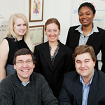 The Scientific Animations Without Borders team at the University of Illinois includes extension educator Francisco Seufferheld (seated, left), entomology professor Barry Pittendrigh (right), and, standing: graduate student Laura Steele (left), project leader and field extension specialist Julia Bello-Bravo (center) and graduate student Tolulope Agunbiade.