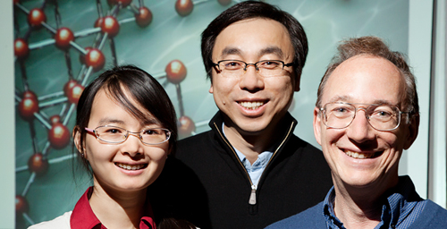 Illinois researchers, from left, doctoral student Qian Chen, research scientist Sung Chul Bae and Steve Granick, professor of materials science and engineering and of physics, developed tiny, simple spheres that self-assemble into intricate structures, such as a lattice that could function as a filter.