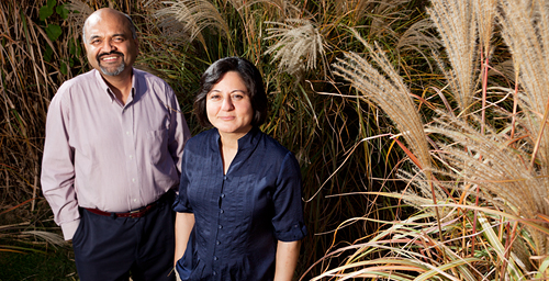 Illinois professors Atul Jain, left, and Madhu Khanna studied geographic yield and breakeven costs for producing large grasses as a bioenergy crop in the Midwestern United States.