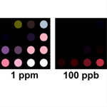 The detector uses a printed array, smaller than a postage stamp, of pigments that change color in the presence of TATP.