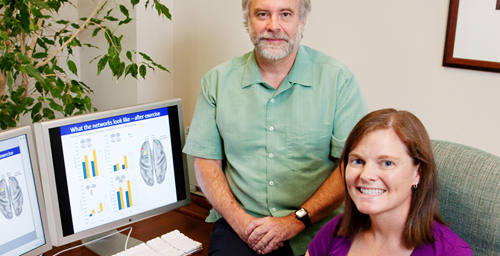 Psychology professor and Beckman Institute director Art Kramer, doctoral student Michelle Voss and their colleagues found that a year of moderate walking improved the connectivity of specific brain networks in older adults.