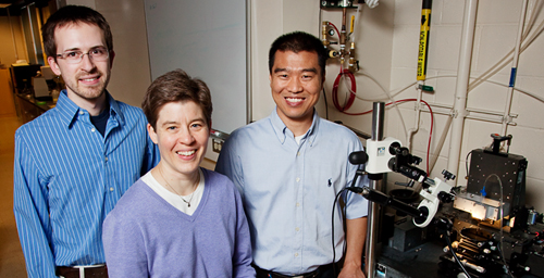 Jennifer Lewis, professor of materials science and engineering, led the research team that created a new method for constructing complext three-dimensional structures for biocompatible devices. Graduate student Chris Hansen, left, and postdoctoral research associate Bok Yeop Ahn were on the team.