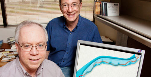 Founder Professor of Engineering Steve Granick, right, led the research team that included materials science and engineering professor Kenneth Schweizer to a better understanding of the conga dance inside a cell.