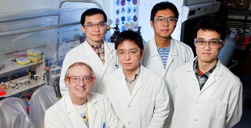 Chemistry professor Eric Oldfield (seated) with (clockwise from behind Oldfield) graduate students Jikun Li, Yi-Liang Liu and Weixue Wang and postdoctoral researcher Ke Wang developed a potent inhibitor to a chemical reaction that allows some disease-causing bacteria and the malaria parasite to survive.