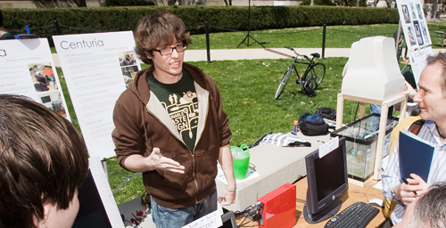 A member of the Centuria team explains their project during the first Sustainable E-waste Design Competition on April 16, 2009, at the University of Illinois. The competition expands internationally this semester.