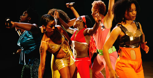 "From left, Rosamond S. King, Caryn Hodge, Ithalia Forel (obscured), Lisa Green, A'Keitha Carey and Nehassaiu deGannes performed ""Rigidigidim De Bamba De: Ruptured Calypso"" at Danspace Project at St. Mark's Church in New York City for three nights after premiering in Philadelphia."