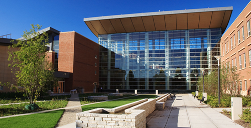 The state-of-the-art Business Instructional Facility at Illinois is the first business facility at a public university anywhere in the world to earn platinum certification through LEED, or Leadership in Energy and Environmental Design, a U.S. Green Building Council rating system.