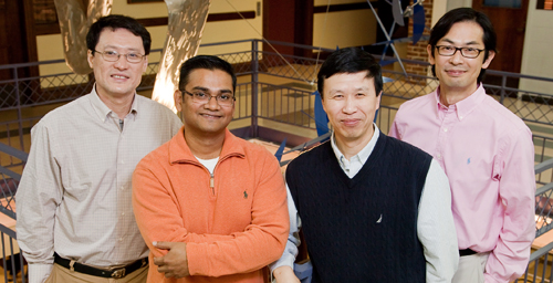 The team that discovered that small mechanical forces have a big impact on embryonic stem cells were led by, from left, Fei Wang, professor of cell and developmental biology; Farhan Chowdhury, doctoral student in mechanical science and engineering: Ning Wang, professor of mechanical science and engineering; and Tetsuya Tanaka, professor of animal sciences.