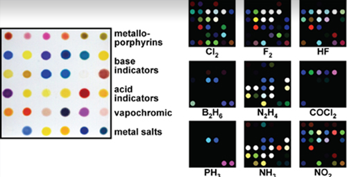 The printed array is made up of nanoporous pigments that change color in response to their chemical environment. The color differences are shown for a few representative poison gases.