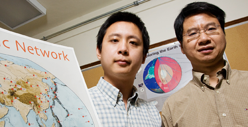 "Using a technique called ""ambient noise correlation,"" Illinois seismologist Xiaodong Song, right, and graduate student Zhen J. Xu have observed significant changes in the behavior of parts of Earth's crust that were disturbed by three major earthquakes."