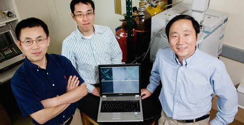 Jianjun Cheng, professor of materials science and engineering, left; Rong Tong, graduate student, center, and Yi Lu, professor of chemistry, were on a team that developed a reversible method for delivering cancer drugs to tumor cells.