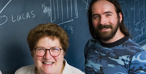 Chemistry professor Zaida Luthey-Schulten, left, and graduate student John Eargle have identified and visualized the signaling pathways in protein-RNA complexes that help set the genetic code in all organisms.