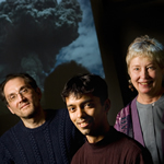 Gustavo Gioia, left, professor of mechanical science and engineering; Pinaki Chakraborty, a postdoctoral researcher; and Susan Kieffer, a professor of geology, have found the origins of