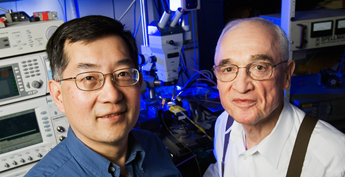 Milton Feng, left, and Nick Holonyak Jr. have successfully demonstrated a microwave signal mixer made from a tunnel-junction transistor laser.