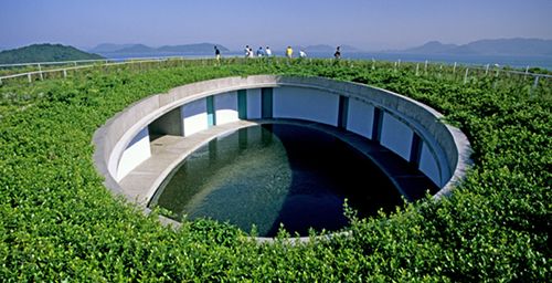 Green roof of Noshina Hotel on Naoshima Island, Kagawa Prefecture, designed by Tadao Ando and built in 1997.