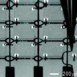 4x4 GaAs LED array interconnected with spanning silver microelectrodes.