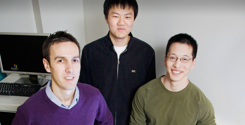 Electrical and computer engineering professor Eric Pop, from left, worked with undergraduate Yang Zhao and graduate student Albert Liao, both in ECE, to demonstrate a remarkable increase in the current-carrying capacity of carbon nanotubes.