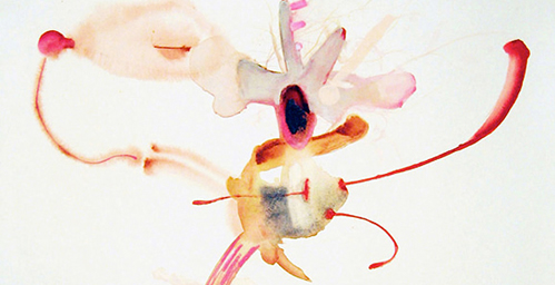 "Barbara Kendrick (2008), ""Whizzle,"" watercolor, colored pencil, 25"" X 22"""