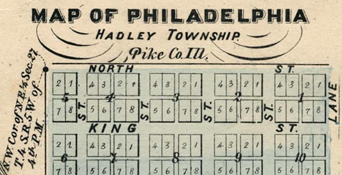 This 1872 atlas map shows the town plan of New Philadelphia as designed by Frank McWorter in 1836. McWorter, born into slavery in 1877, purchased his own and many family members' freedom and then established the frontier town in western Illinois.