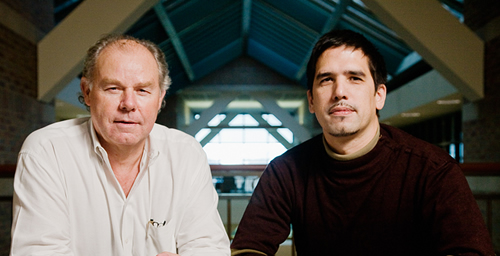 Jean-Pierre Leburton, left, a professor of electrical and computer engineering, and physics graduate student Marcelo Kuroda collaborated on theory that explains the absence of the thermoelectric effect in metallic carbon nanotubes.
