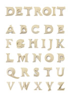 J. Kyle Daevel, Detroit Alphabet, 2007, birch plywood, dimensions variable