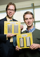 Illinois researchers Paul Braun, right, and Scott White have created self-healing coatings that automatically repair themselves and prevent corrosion of the underlying substrate.