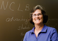 Sarah J. McCarthey, a professor of language and literacy in the department of curriculum and instruction in the College of Education, says the controversial No Child Left Behind law has forced teachers in low-income school districts to craft a curriculum that marginalizes writing at the expense of teaching to the test.