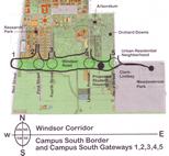A map shows the Windsor Road corridor that will be the subject of the landscape architecture charrette Oct. 21-24.