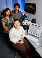 Illinois veterinary biosciences professor Indrani Bagchi, left, molecular and integrative physiology professor Milan Bagchi and veterinary biosciences doctoral student Mary Laws led the team that discovered that a gap junction protein is critical to a successful pregnancy.