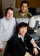 William King, professor of mechanical science and engineering, left; Rohit Bhargava, professor of bioengineering; and Keunhan Park, postdoctoral research associate, have demonstrated a method for simultaneous structural and chemical characterization of samples at the femtogram level (a femtogram is one quadrillionth of a gram) and below.