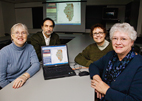 The Illinois Early Childhood Asset Map team, from left, led by Susan Fowler, professor of special education; Bernard Cesarone, the project's technical manager; Dawn Thomas, project coordinator; and Dianne Rothenberg, past project coordinator.