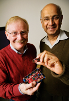 Kenneth Watkin, left, and Ravi Iyer have developed communications technology that will transfer real-time blast injury data to first responders. They plan to develop and test an integrated system, which will include a modified battlefield helmet retrofitted with