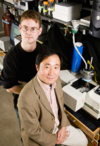 Chemistry professor Yi Lu, right, and graduate student Nathan Sieracki have developed a chemical buffer that maintains a desired pH at a range of low temperatures.