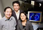 Chemistry professor Yi Lu, left, physics professor Taekjip Ha and graduate research assistant and lead author Hee-Kyung Kim have found clear evidence that a lead-specific DNAzyme uses the