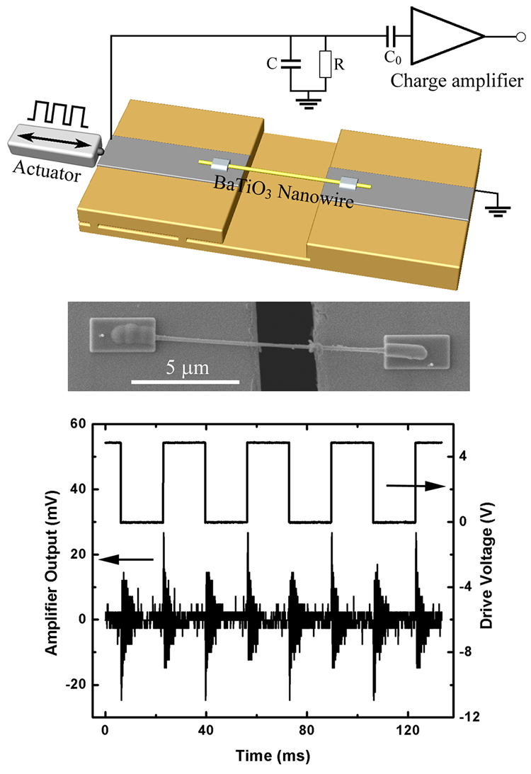 top: schematic showing the experimental setup for the piezoelectric charge  detection from an individual barium