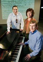 Playwright Moiss Kaufman, left, consulted with musicologists Katherine Syer and William Kinderman on his new play,