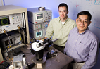 Milton Feng, the Holonyak Chair Professor of Electrical and Computer Engineering, right, and his graduate student William Snodgrass have taken the transistor to a new range of high-speed operation, bringing the